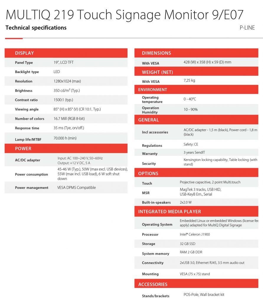 """MultiQ MQ219 Touch Signage Monitor. 19"""", 1280x1024, VGA, 2xUSB. Begagnad"""